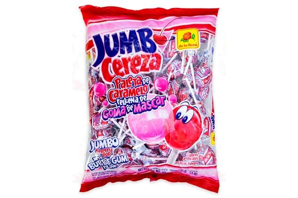 Jumbo Cherry lolipop with Bubblegum Filling, 24pcs (Bag 456g)