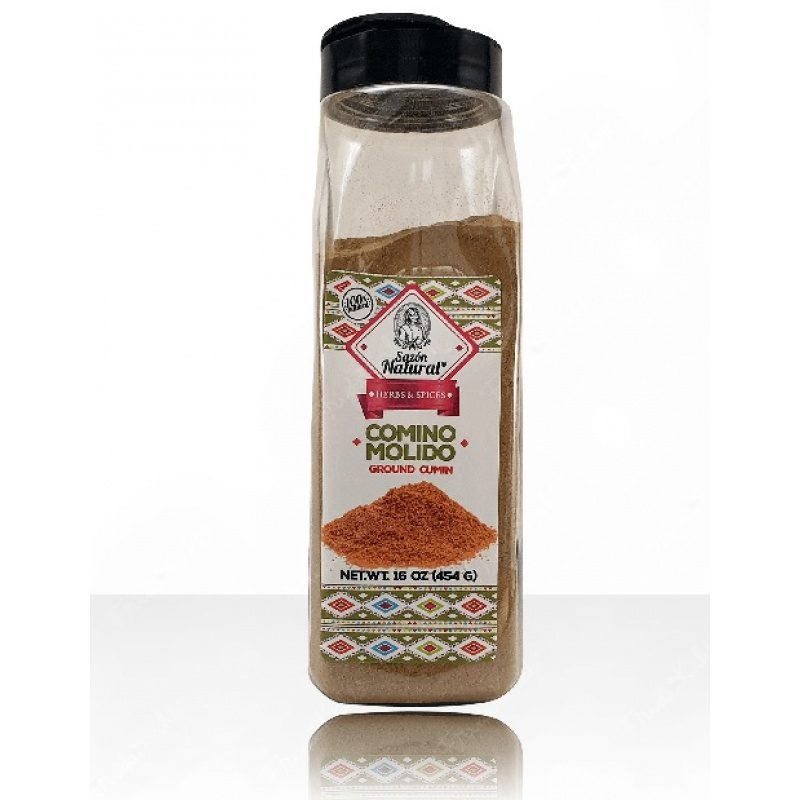Comino Molida (Ground Cumin) 454g, Sazon Natural (Plastic Jar)