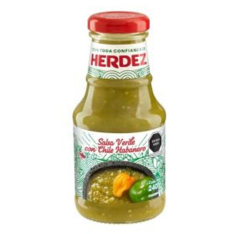 Herdez Salsa Verde Habanero Picante, 240 g (Glass)