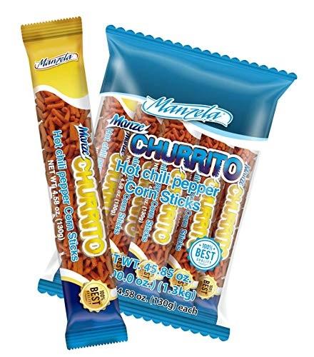 Manzela, Hot Chili Pepper Corn Sticks, 10 packs or 130g (Bag) => (Expiry 17/Mar/21)