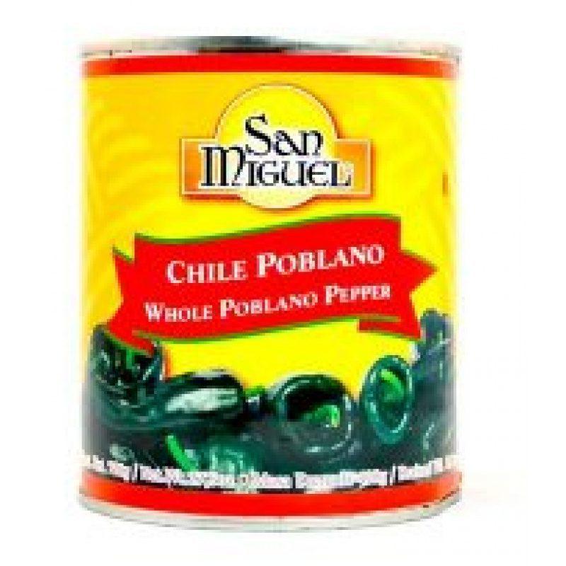 San Miguel Chilli Poblano Entero 780 g (Tin) - Whole Chilli Poblano Pepper
