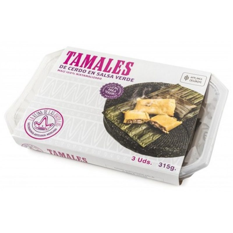 Tamales Cerdo en Salsa Verde, 3pcs, 315g (Prepared Dish)