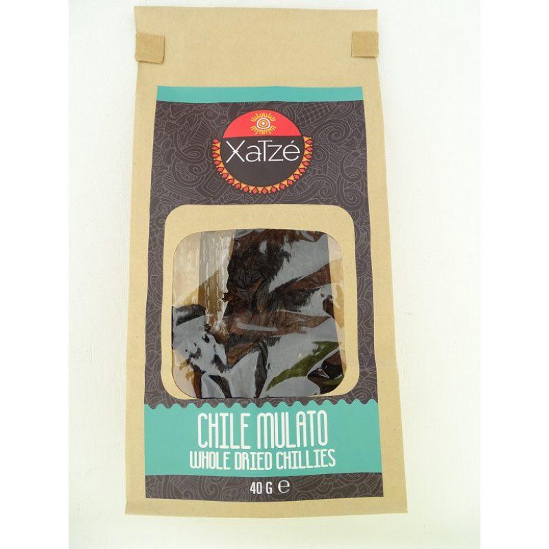 Xatze Whole Dried Chilli Mulato 40g Paper Bag,[ Chile Mulato, Chili Mulato]