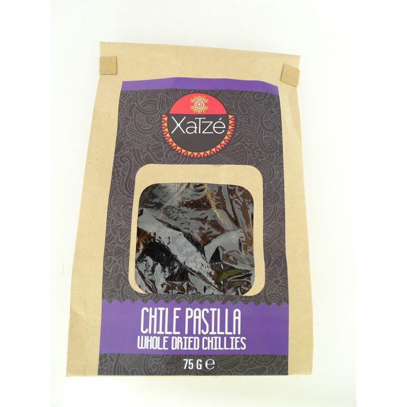 Xatze Whole Dried Chilli Pasilla 75g Paper Bag, [Chile Pasilla, Chili Pasilla]
